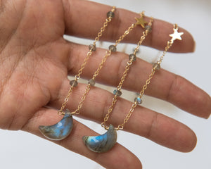 Labradorite Moon Necklace - Vida Jewelry Designs