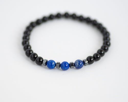 Men's Onyx & Lapis Gemstone Bracelet - Vida Jewelry Designs