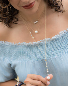 Pearl Y Necklace - Vida Jewelry Designs