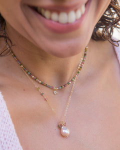 Baroque Pearl & Tourmaline Minimalist Necklace - Vida Jewelry Designs