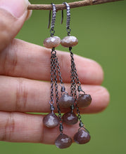 Chocolate Moonstone & Cubic Zirconia Earrings in Oxidized Silver