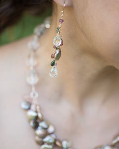 Tourmaline & Crystal Quartz Dangle Earrings - Vida Jewelry Designs