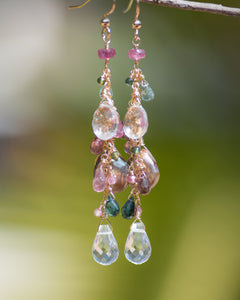 Tourmaline & Crystal Quartz Gemstone Lux Earrings - Vida Jewelry Designs