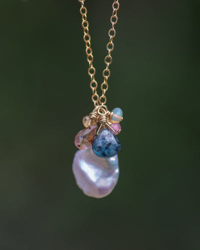 Keshi Pearl Tourmaline Necklace