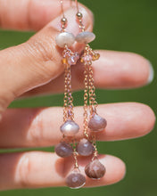 Rose Gold Chocolate Moonstone Drop Earrings