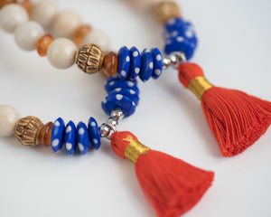 Orange Tassel & Bone Accent Riverstone Bracelet