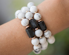 Howlite & Black Tourmaline Rose Gold Bracelet - Vida Jewelry Designs