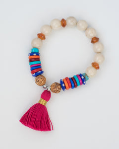 colorful pink tassel bracelets