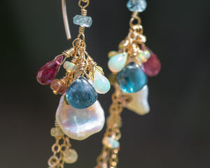 Keshi Pearl, Tourmaline, Opal, & Kyanite Dangle Earrings