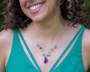 Raw Amethyst & Green Chrysoprase Opal Necklace - Vida Jewelry Designs