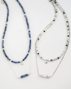 Sterling Silver CZ Sodalite Choker Necklace - Vida Jewelry Designs