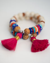 Rainbow Bone Beads & Hot Pink Tassel Bracelet