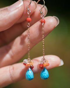 Turquoise & Mexican Fire Opal Dangle Cluster Gemstone Earrings