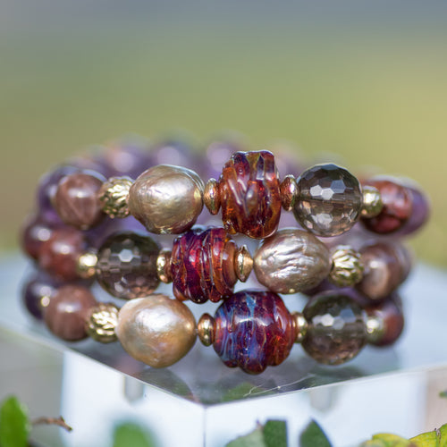 Purple Lodolite, Baroque Pearl, & Artisan Glass Beaded Bracelet