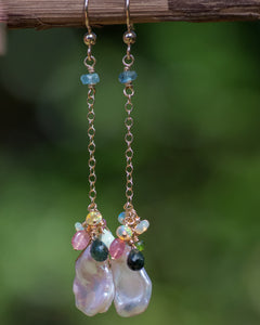 keshi pearl and ethiopian opal gemstone dangle earrings