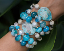 African Turquoise & Grey Pearl Mixed Metal Beaded Bracelet