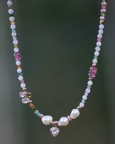 Tourmaline & Peruvian Pink Opal Rose Gold Heart Charm Necklace