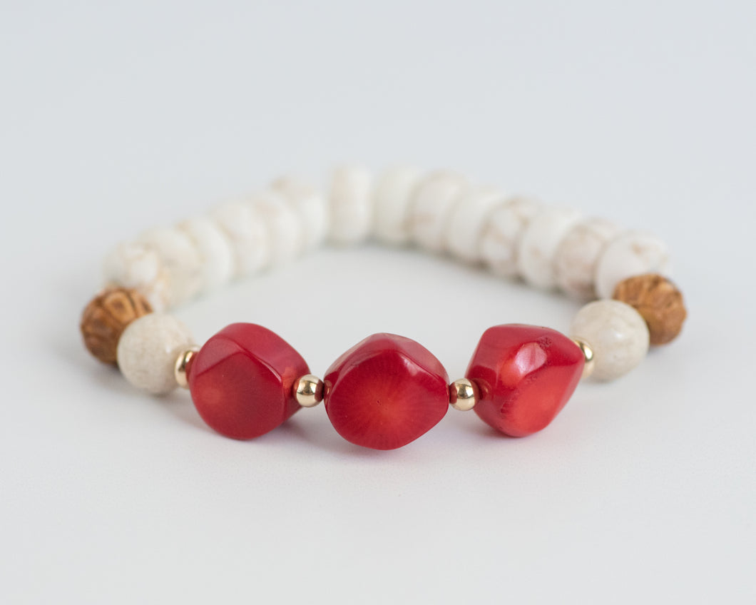 Sea Bamboo Coral & Howlite Beaded Bracelet