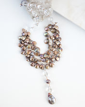 multi strand pearl and quartz statement necklace