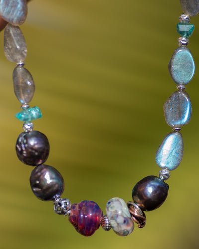 Labradorite, Peacock Pearl Glass Beaded Gemstone Necklace