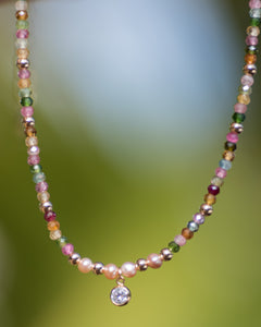 Multi Colored Tourmaline Choker Necklace with CZ Accent