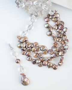 elegant multi strand pearl statement necklace
