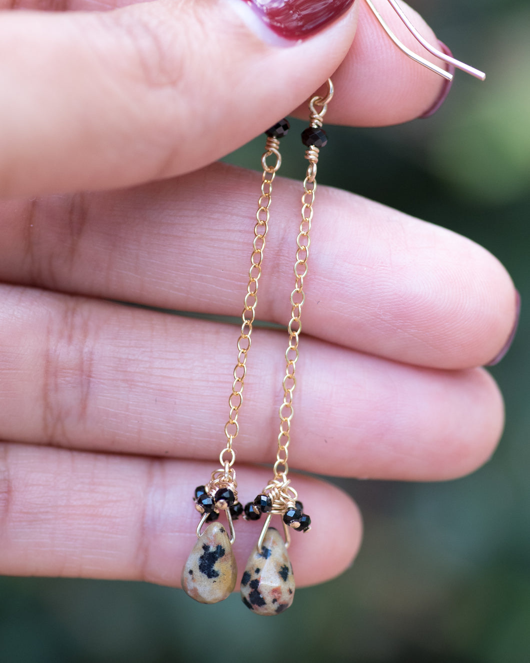 Minimal Dalmatian Jasper Dangle Earrings - Vida Jewelry Designs