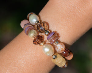 Garnet & Citrine Glass Beaded Gemstone Bracelet