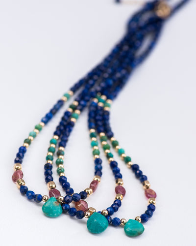 Lapis, Turquoise & Chrysocolla Gemstone Necklace