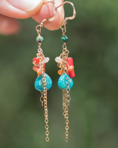 Turquoise, Coral, & Mexican Fire Opal Dangle Earrings