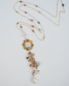 Long Tourmaline & Pearl Tassel Necklace - Vida Jewelry Designs
