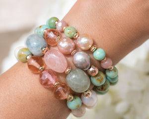 Mongolian Turquoise & Single Baroque Pearl Beaded Bracelet