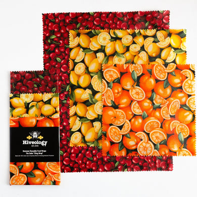 Beeswax Reusable Food Wraps - Three Pack BeesWax Wraps Hiveology