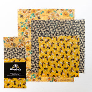 Beeswax Reusable Food Wraps - Three Pack BeesWax Wraps Hiveology Daisies Hexagons & Bees