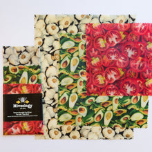 Load image into Gallery viewer, Beeswax Reusable Food Wraps - Three Pack BeesWax Wraps Hiveology Garlic Avocado and Tomatoes