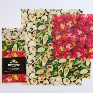 Beeswax Reusable Food Wraps - Three Pack BeesWax Wraps Hiveology Garlic Avocado and Tomatoes