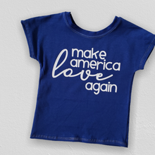 Load image into Gallery viewer, make america love again shirt, kids political top, #mala, political clothing for boys and girls at quark and atom