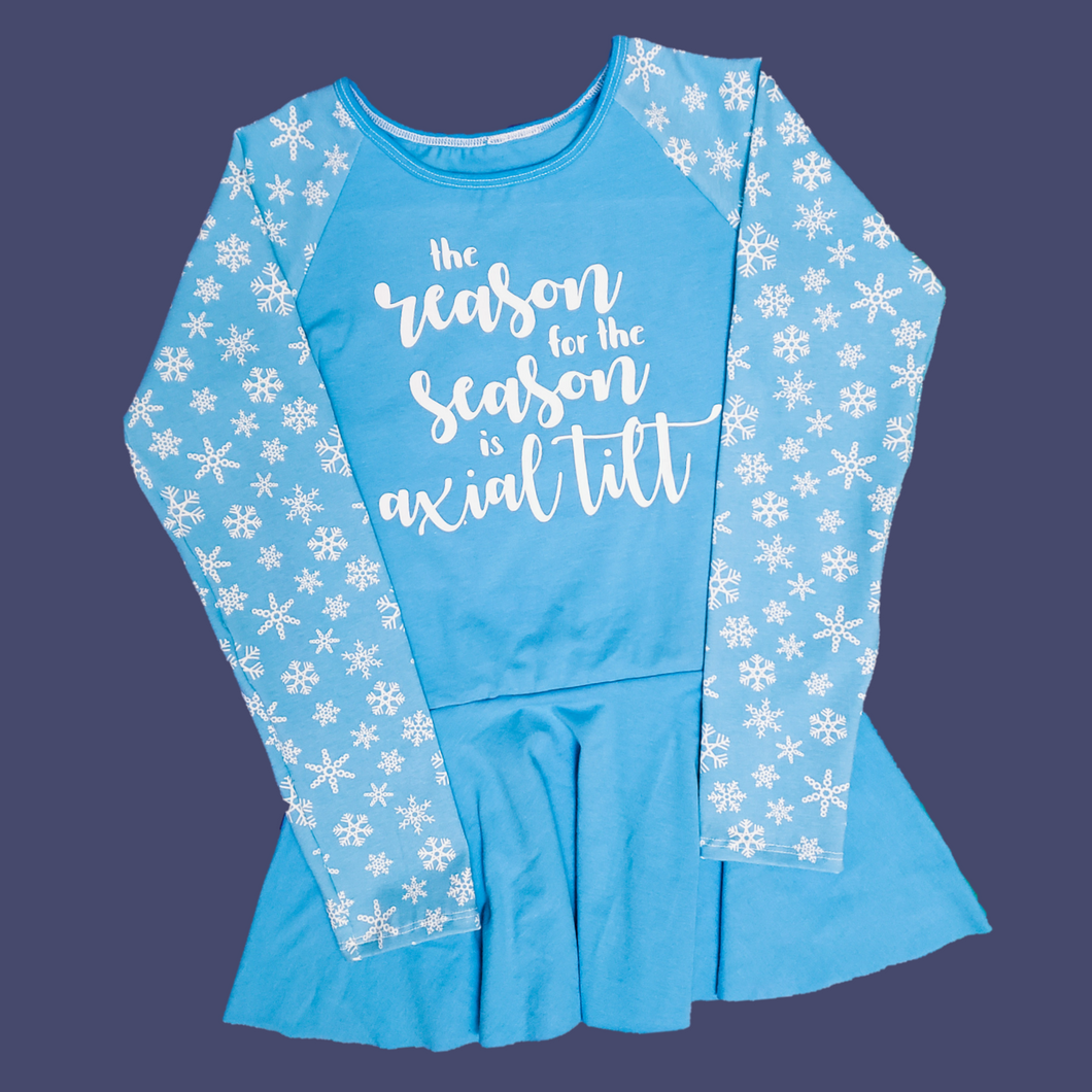 The Reason for the Season is Axial Tilt Children's Peplum Top at Quark and Atom