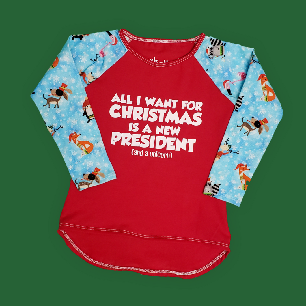 all i want for christmas is a new president, humorous shirt for kids, funny kids clothing, political clothing for kids at quark and atom