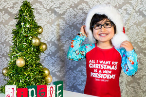 all i want for christmas is a new president, humorous top for kids, funny kids clothing, hanukkah clothing for kids, kwanzaa clothing for kids, political clothing for girls and boys at quark and atom