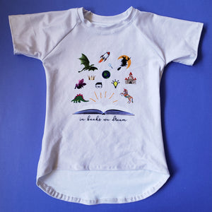 in books we dream shirt, STEAM leotard for kids at quark and atom