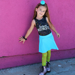future mathlete leotard, STEAM clothing for girls at quark and atom