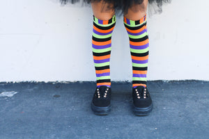 handmade halloween striped knee high socks at quark and atom