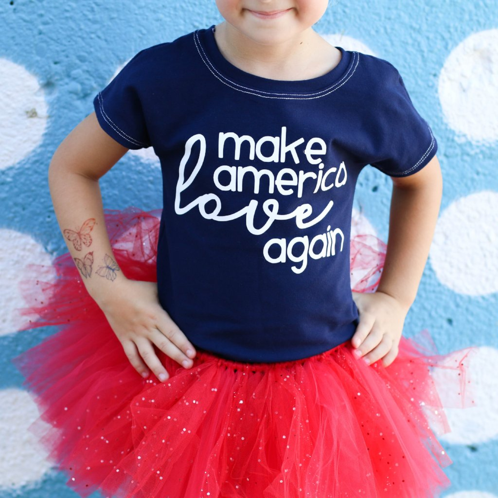 make america love again leotard, kids political leotard, #mala, political clothing for girls at quark and atom