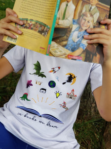 in books we dream shirt, STEAM shirt for kids at quark and atom