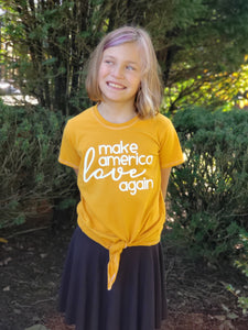 make america love again shirt, kids political top, #mala, political clothing for boys and girls at quark and atom