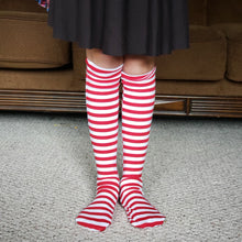 Load image into Gallery viewer, handmade red striped knee high socks at quark and atom