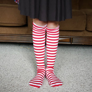 handmade red striped knee high socks at quark and atom