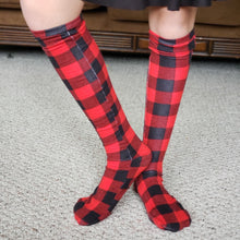 Load image into Gallery viewer, handmade buffalo plaid knee high socks at quark and atom