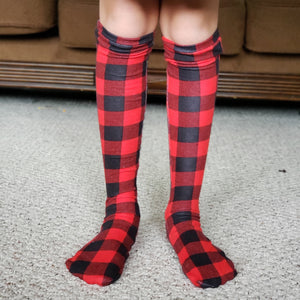 handmade buffalo plaid knee high socks at quark and atom